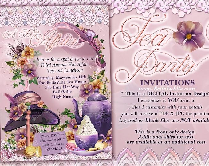 Tea Party Invitations, Hat Tea Parties, Hat Party Invitations, Birthday Tea Party, Purple Hat Party, Fancy Tea Party, Hat Party