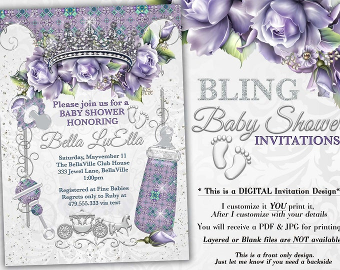 Princess BLING Baby Shower Invitation, Baby Shower Bling, Jewel Princess Baby, Baby Showers, Lavender SILVER Bling Baby Shower, Purple Roses