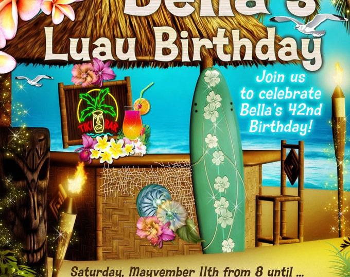 Tiki Party, Beach Party Invitation, Luau Party, Summer Party Invitations, Luau Invitations,