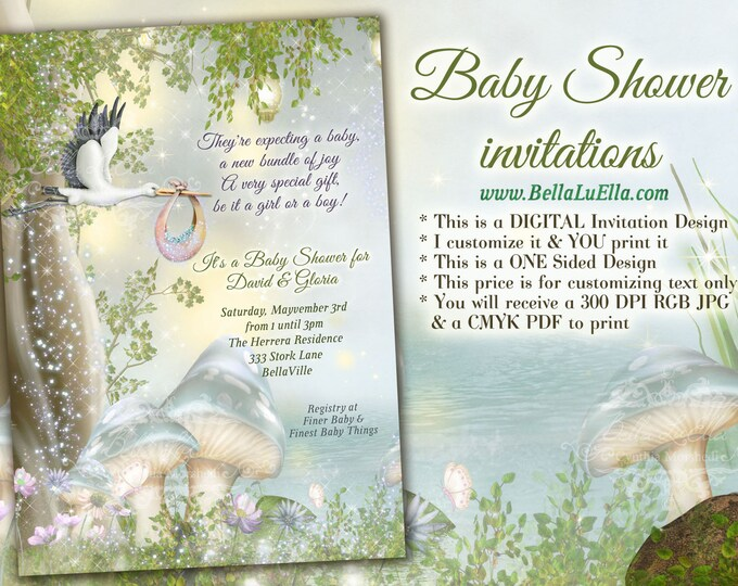 Stork Baby Shower Invitation, Stork Woodland Mushroom Baby Shower Invitations