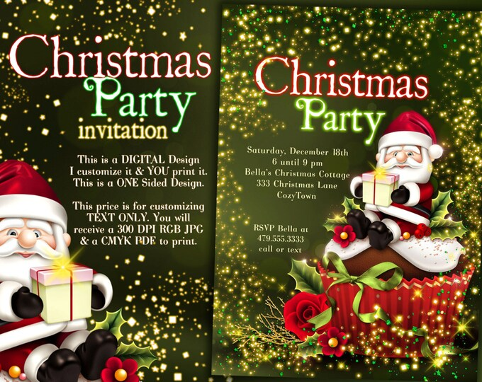 Santa Christmas Invitation, Christmas Party Invitations, Holiday Invitations, Holiday Christmas Party, North Pole Party