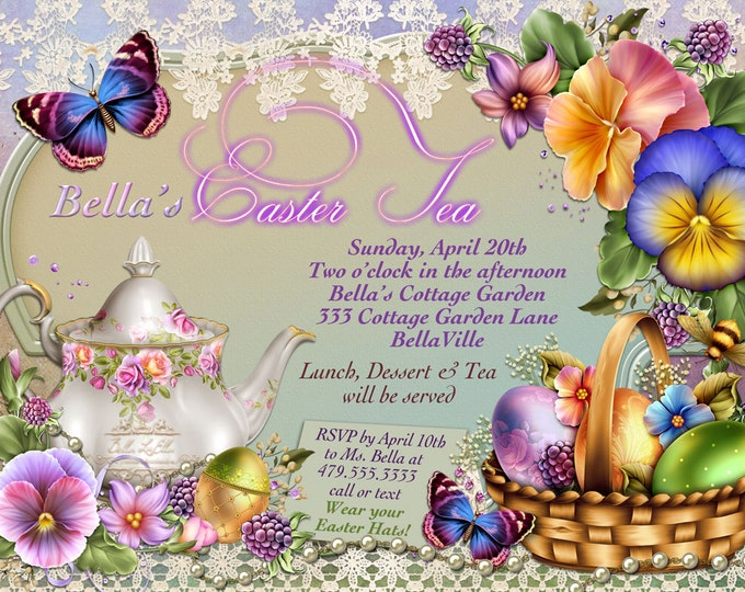 Easter Tea Invitations, Easter Cards, Easter Party, Easter Sunday Invite
