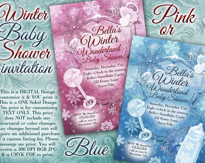 Snowflake Baby Shower, Christmas Baby Shower, Holiday Baby Shower, Baby Shower Invitation, Winter Baby Shower
