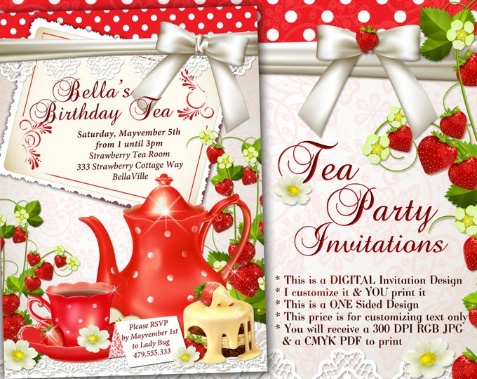 Tea Party Invitation, Birthday Tea Party, Strawberry Tea Party, Party Invitations, Bridal Shower Tea