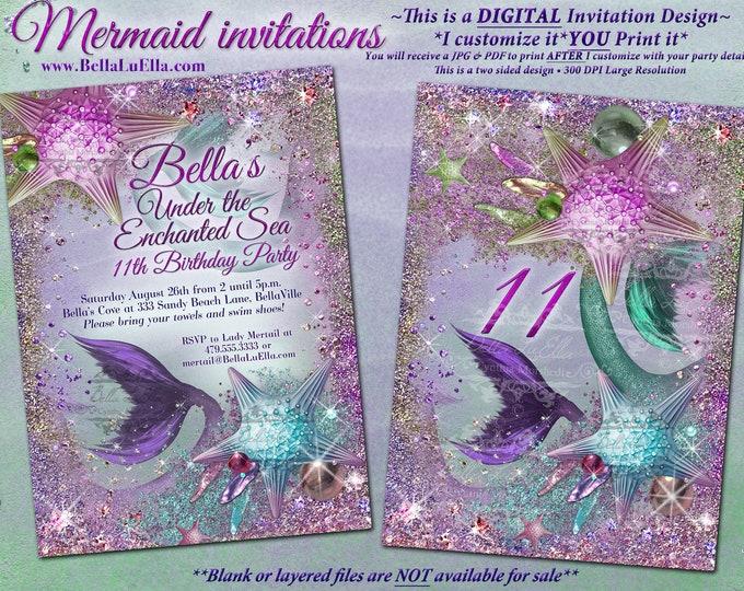 Mermaid, Mermaid Invitations, Mermaid Party, Under the Sea Invitations, Enchanted Seas, Jewel Mermaid, Bling Starfish Under the Sea