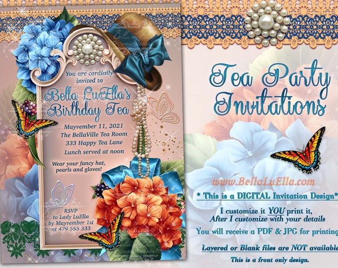 Bridal Shower Invitation, Garden Party, Shower Invitations, Birthday Invitations, Garden Birthday Tea, Orange Blue Floral Party, Hat Party