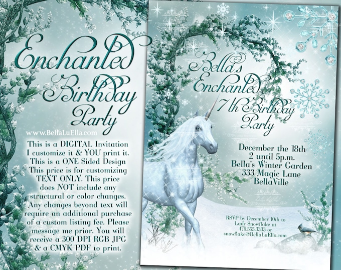 Unicorn Party Invitation, Snowflake Unicorn Party, Winter Unicorn Party Invite, Winter Wonderland Unicorn Forest