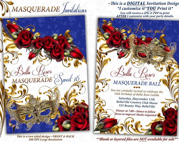 Masquerade Invitation, Mardi Gras Invitation, Mis Quince Anos, Sweet Sixteen, Red Gold Blue, Quince Mascarda, Red Roses Royal Blue Gold