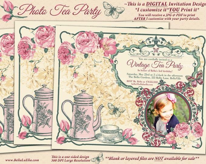 Vintage Tea Party Invitation Photo Card, Photo Card, Tea Party Invitations, Party Invitations, Pink Yellow Vintage Tea Party