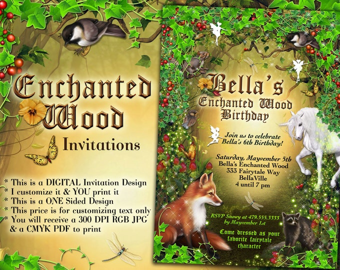 Fairy Forest Party, Enchanted Wood Invitation, Unicorn Fairy Party