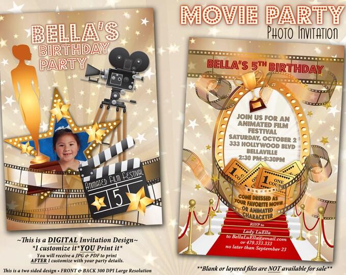 Movie Viewing Party, Movie Theatre Invitation, Photo Movie Birthday Party, Movie Night Invitation