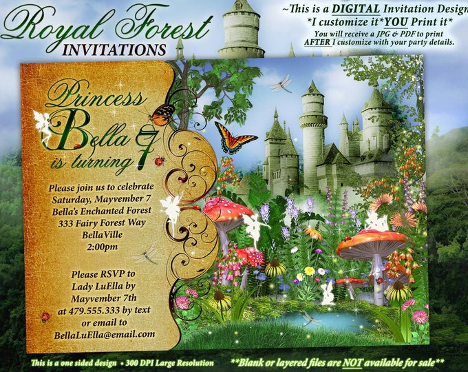 Fairytale Forest Party, Enchanted Castle Woodland Invitation, Royal Woodland Shower, Fairy Castle Princess Forest Birthday, Royal Faerywood