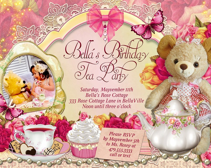 Teddy Bear Tea Party Invitation, Photo Teddy Tea Party, Teddy and Me Tea Party