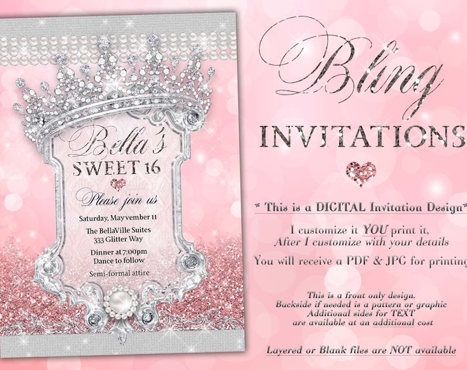 Pink Diamond Pearl Invitation, Sweet 16 Invitation, Quinceanera, Bling Party Invitations, Mis Quince Anos