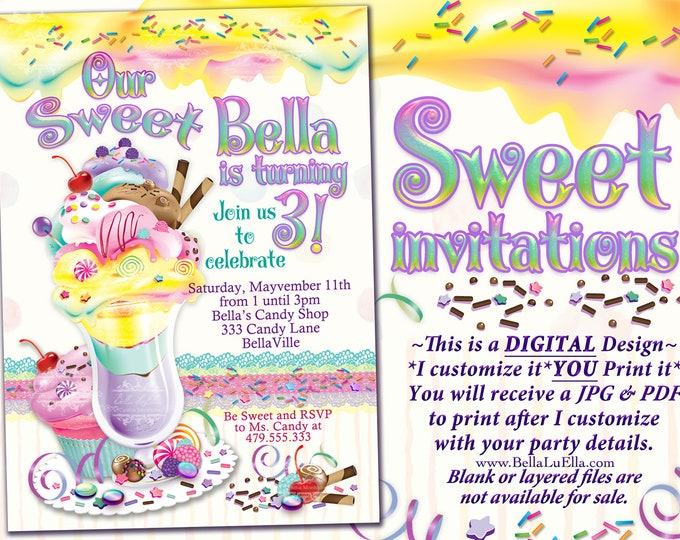 Ice Cream Cake Birthday Party Invitation, Birthday Party Invitations, Sweeties Party, Candy Land Ice Cream Social