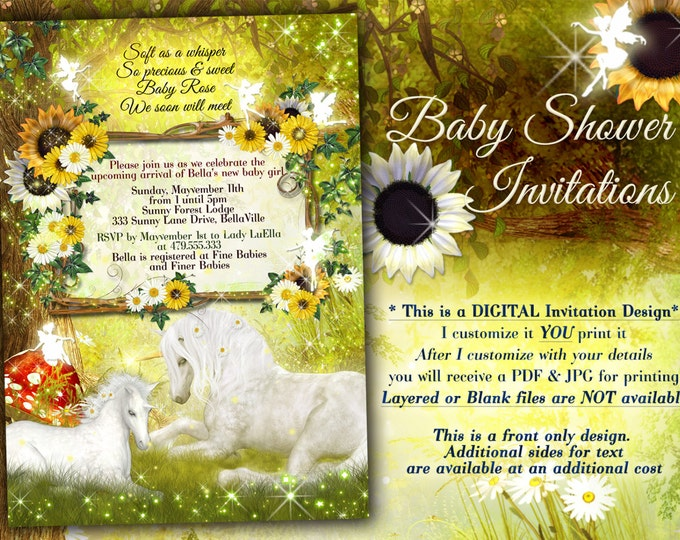 Unicorn Baby Shower Invitation, Magical Baby Showers, Fairy Unicorn Showers