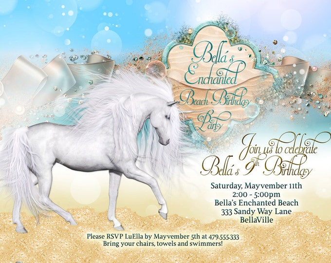 Unicorn Beach Party, Unicorn Party Invitation, Birthday Party Invitations