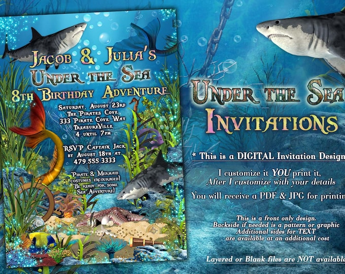 Shark and Mermaid Invitations, Under the Sea Party, Marine Adventure