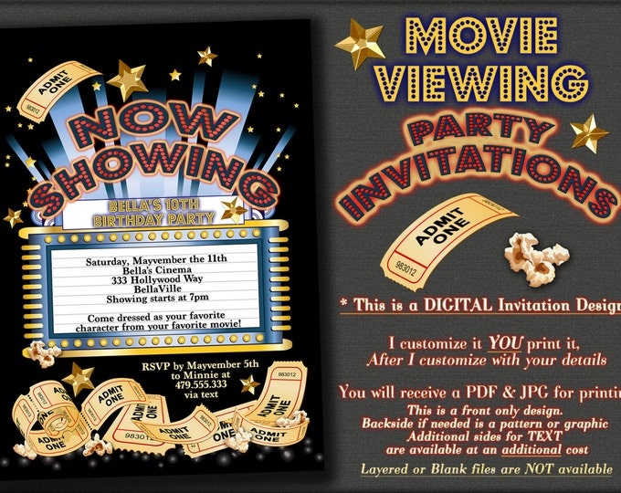 Movie Viewing Party, Movie Theatre Invitation, Movie Birthday Party, Movie Night Invitation