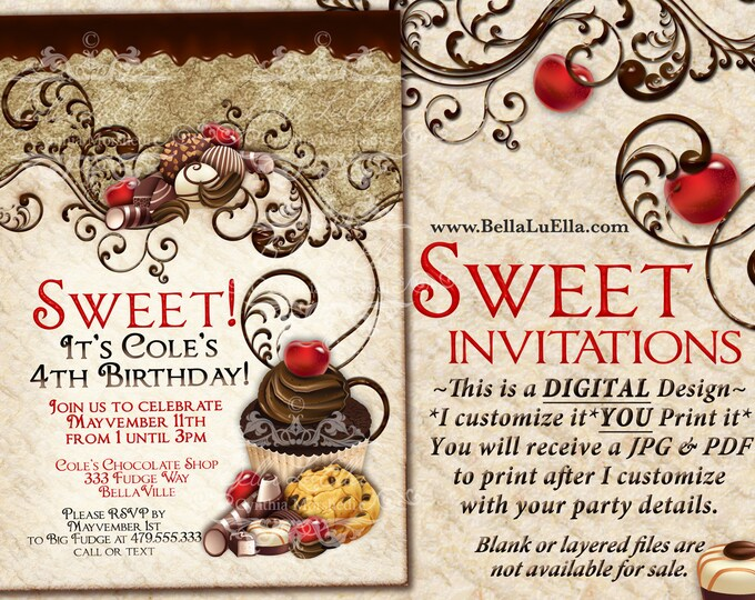 Chocolate Sweet 16 Party Invitation, Sweets Invitation, Chocolate Cupcake Party, Cupcake Cookies, Sweets Candy Party, Chocolate