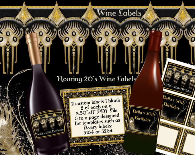Roaring 20's Glam Party Custom Wine Bottle Labels, Custom wine bottle labels