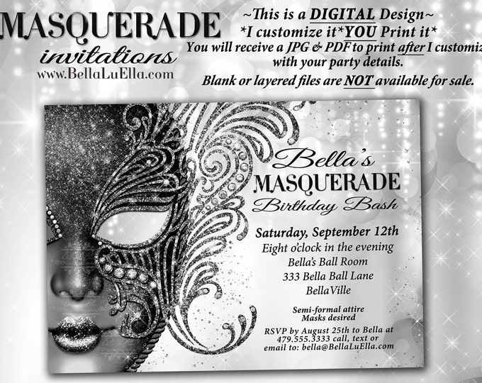 Masquerade Party Invitation, Mardi Gras Party,Masquerade Invitations, Black White Ball, Mis Quince Anos, Sweet 16 Masked Ball