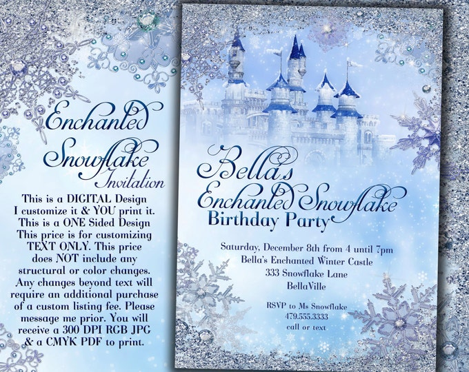 Snowflake Castle Birthday Invitation, Winter Princess Castle, Winter Wonderland Party, Winter Snowflake Invitation, Snowflake Invitation