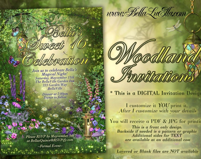 Fairytale Party Invitations, Woodland Themed Party, Enchanted Woods Party Invitation, Fairytale Woodland Showers, Fairy Quince, Fairytales