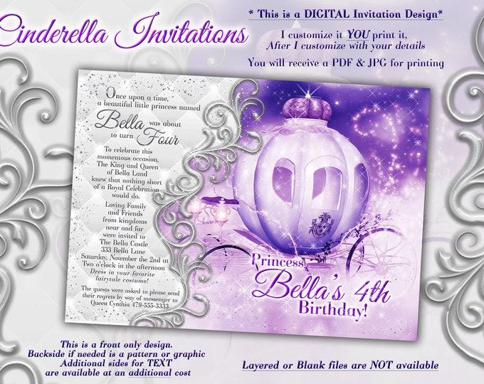 Princess Party Invitation, Birthday Party Invitations, Princess Carriage Invitation, Purple White Carriage Birthday