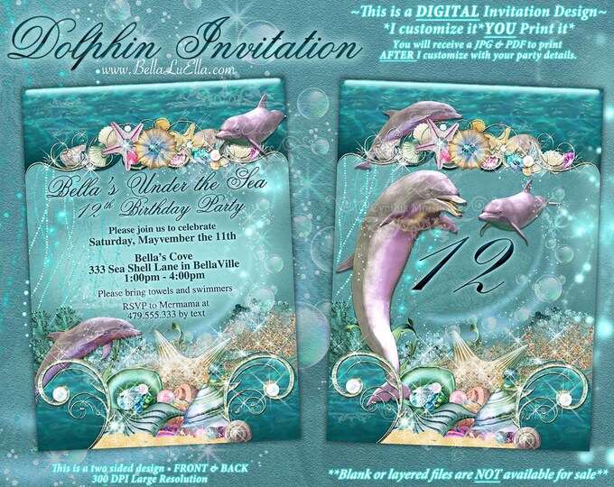 Dolphin Under the Sea Party Invitations, Under the Sea Birthday, Nautical Theme, Dolphins Water Shells Waves, Aquarium Birthday