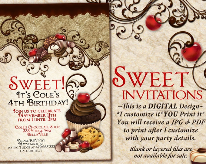 Chocolate Sweet 16 Party Invitation, Sweets Invitation, Chocolate Cupcake Party, Cupcake Cookies