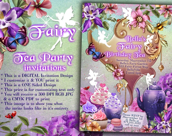 Fairy Tea Party Invitation, Birthday Tea Party, Tea Party, Garden Tea Party, Party Invitations, Tea Party