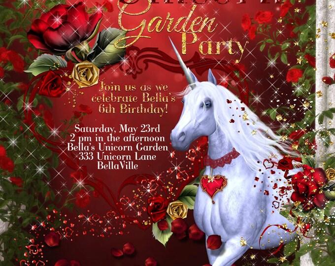 Unicorn Party, Unicorn Invitations, Unicorn Garden Party, Unicorn Party Invitation with Roses