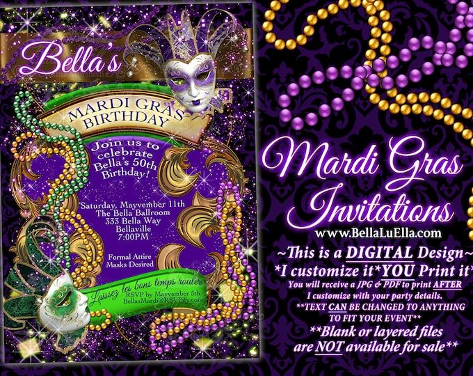 Mardi Gras Party, Party Invitations, Masquerade Invitations, Mardi Gras Invitations, Masks and Beads, Mardi Gras Party, Purple Green Gold