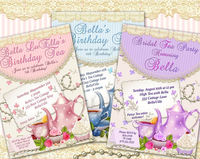 Tea Party Invitation, Bridal Tea Party, Garden Tea Party, Party Invitations, Birthday Tea Party