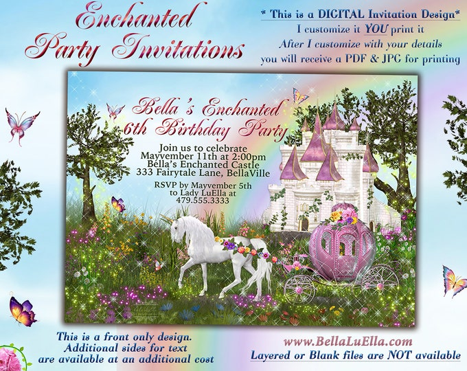Unicorn Castle Party, Unicorn Carriage Castle Invitation, Enchanted Princess Fairytale Forest Unicorn Castle Party, Castle Unicorn Forest