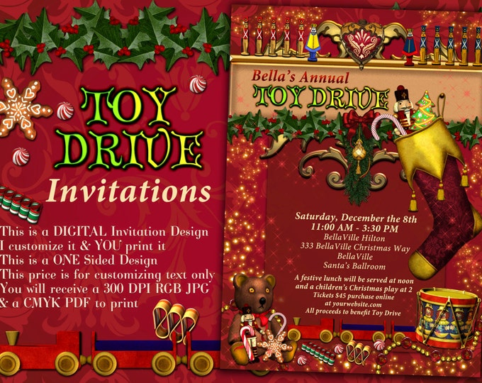 Toy Drive Invitations, Christmas Party Invites, Holiday Charity Events, Holiday Party Invitations