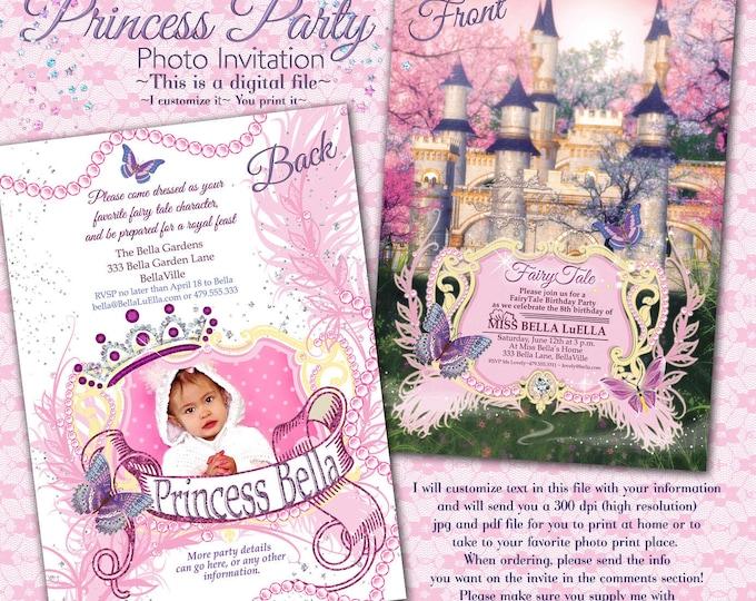 Princess Party Photo Invitation, Photo Card Invitations, Princess Party Invitations, Party Invitations