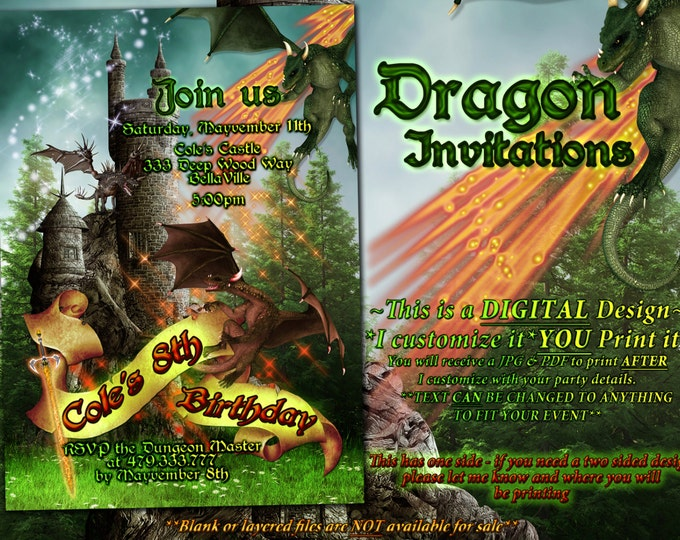 Dragon Party, Boys Dragon Invitation, Dragon Party Invitation, Dragon Castle