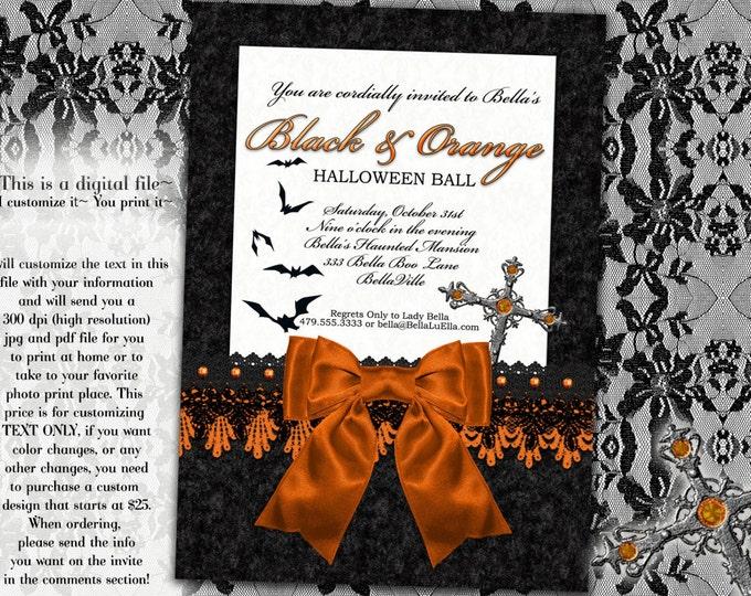 Halloween Party Invitation, Halloween Ball Invitations, Orange and Black Ball