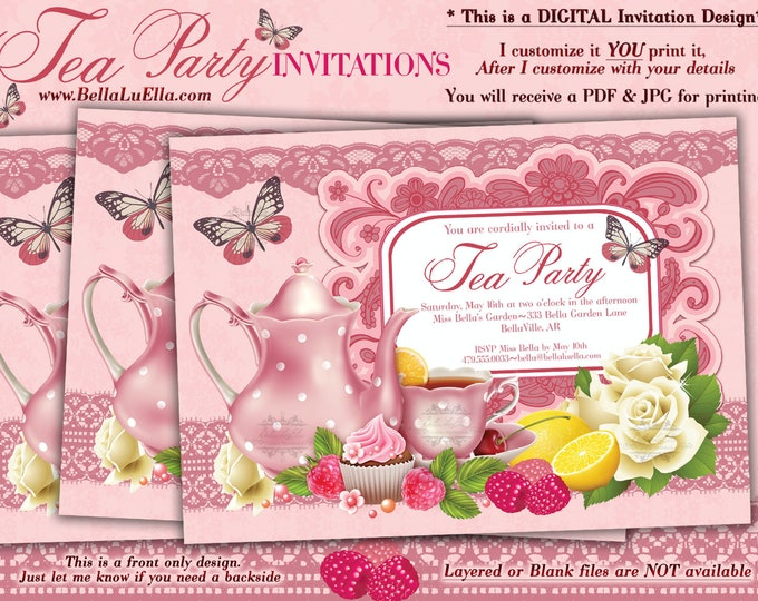 Tea Party Invitation, Bridal Tea Party, Garden Tea Party, Party Invitations, Birthday Tea Party, Berries and Lemons, Pink Tea, Birthday Tea