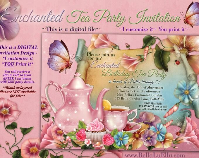 Fairy Tea Party Invitation, Birthday Tea Party, Tea Party, Garden Tea Party, Party Invitations, Girls Garden Tea Party