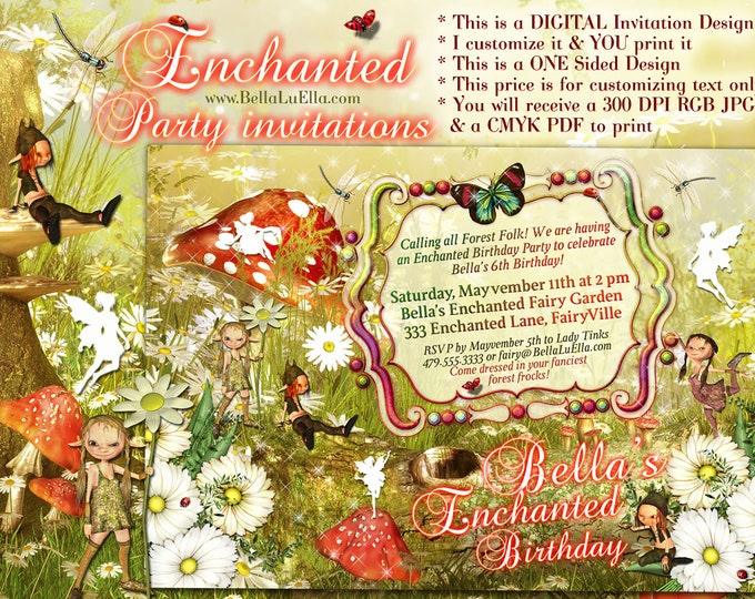 Fairies and Elves Party Invitations, Fairy Party, Enchanted Forest Party, Magical Birthday Invitations, Magical Enchanted Fairy Forest Party