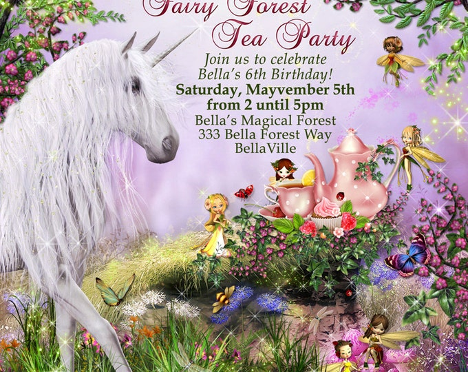 Unicorn Fairy Tea Party, Unicorn Party Invitation, Birthday Tea Party Invitations, Fairy Tea Party