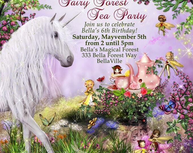 Unicorn Fairy Tea Party, Unicorn Party Invitation, Birthday Tea Party Invitations, Fairy Tea Party