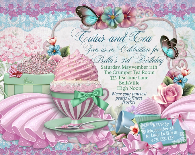 Tutus and Tea Party, Tea Party Invitation, Tutu and Tea Invitations, Tutu Party