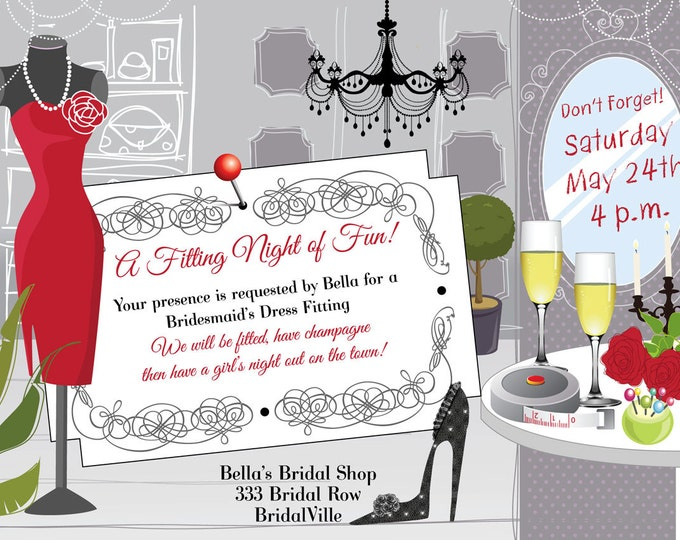 Dress Fitting Invitation, Fitting Party, Bridesmaid Dress Fitting Reminders,