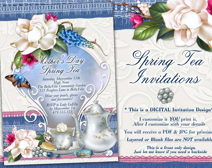 Spring Tea Party Invitation, Mothers Day Tea, Garden Tea Party, Bridal Tea Shower, Bridal Shower Tea Party, Blue White Tea Party