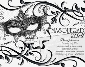 Black White Masquerade Party Quinceanera Invitation Sweet 16 Birthday Mardi Gras Ball Mask