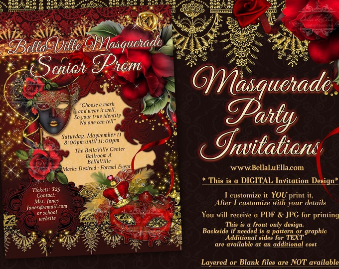 Masquerade Invitation, Prom Masquerade, Red Rose Masquerade, Red Gold Prom, Roses Lace Mis Quince, Sweet 16 Invitation, Quinceanera